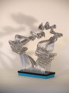 Duello - scultura in alluminio - cm 53x25x 52